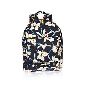 Navy Mi-Pac Hawaiian print backpack