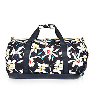 Navy Mipac orchid print duffle holdall bag