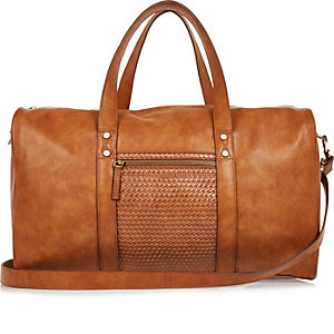 Tan brown lattice holdall bag