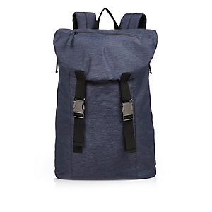 Blue buckled backpack