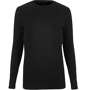 Black chunky ribbed slim fit top