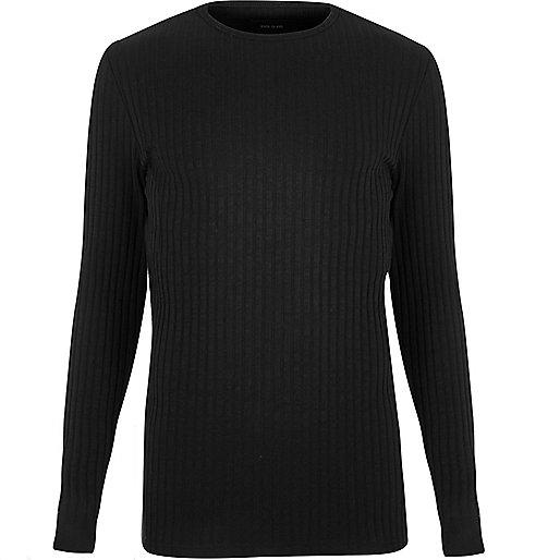 Black chunky ribbed slim fit top
