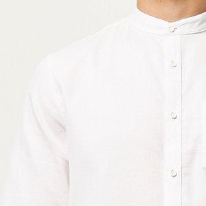 White waffle grandad collar shirt