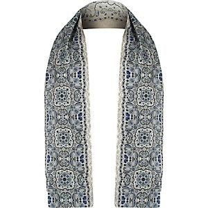 Blue silk paisley pattern formal scarf