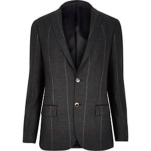 Green check skinny suit jacket