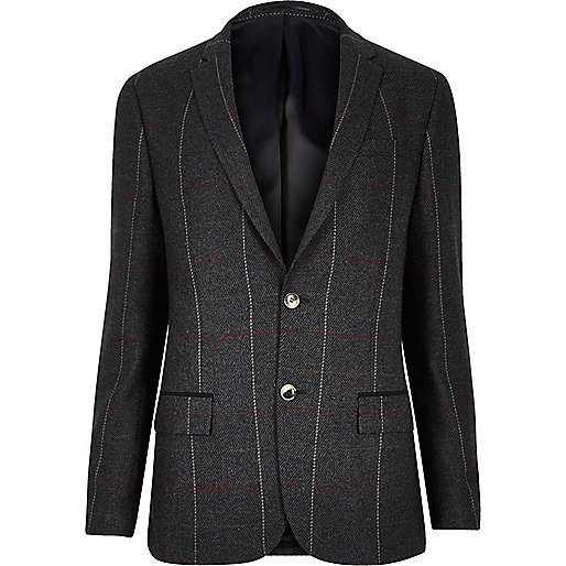 Dark green check skinny suit jacket