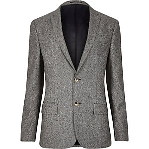 Grey neppy skinny suit jacket