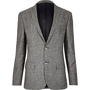 Grey neppy skinny suit jacket