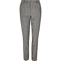 Grey neppy skinny suit trousers