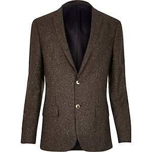 Brown neppy skinny suit jacket