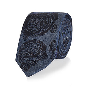 Blue chambray floral tie