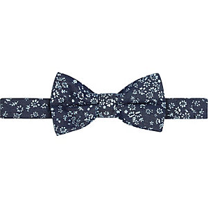 Blue denim ditsy print bow tie