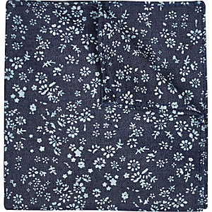 Blue denim ditsy print pocket square