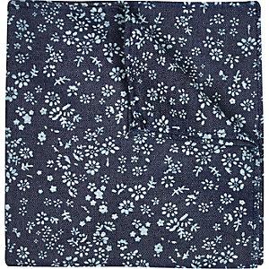 Blue denim ditsy print pocket square