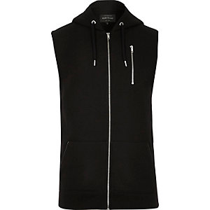 Black zip-up sleeveless hoodie
