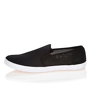 Black mesh slip on plimsolls
