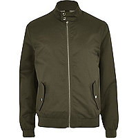 Harrington-Jacke mit Tunnelkragen in Khaki