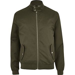 Khaki funnel neck harrington jacket