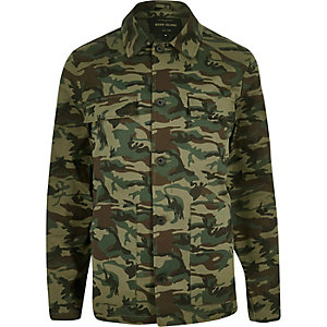 Green camo print worker jacket