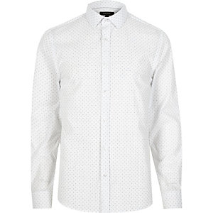 White dotty slim fit shirt
