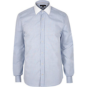 Blue gingham contrast collar shirt