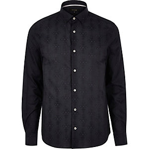 Navy geometric pattern slim fit shirt