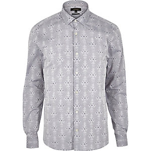 Grey geometric pattern slim fit shirt