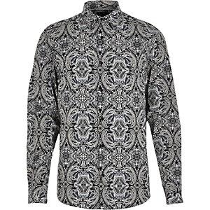 Blue eclectic paisley print slim shirt