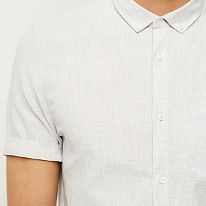 Grey waffle texture short sleeve shirt