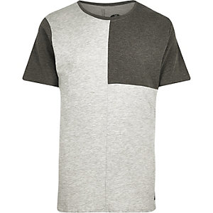Light grey Only & Sons block panel t-shirt