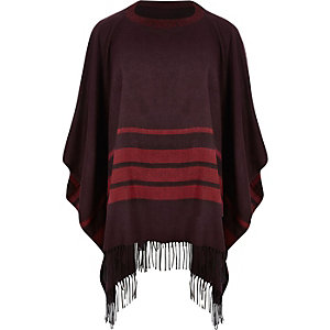 Red stripe tassel poncho cape