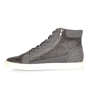 Grey zip-up high top sneakers