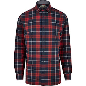 Navy Only & Sons check shirt