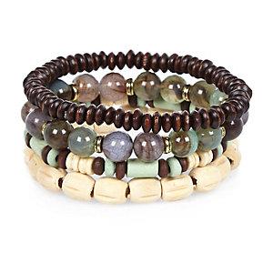 Green marble beaded bracelets pack