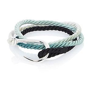 Blue rope fish hook bracelet