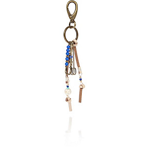 Blue safety pin keychain