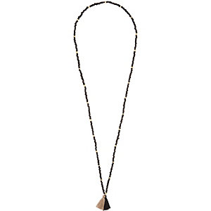 Black bead and tassel necklace