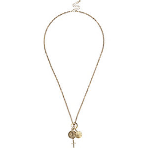 Gold tone multiple cross pendants necklace