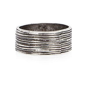 Grey metal textured ring