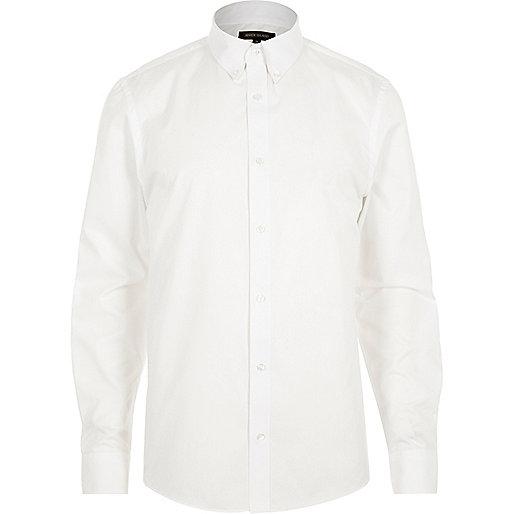 White twill button collar slim fit shirt