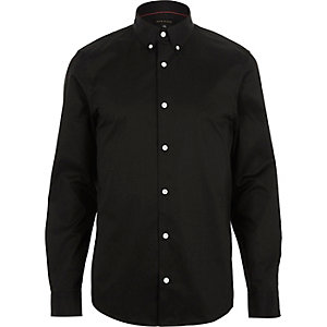 Black twill button collar slim shirt