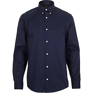 Navy twill button collar slim shirt