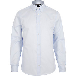 Light blue twill button collar slim shirt