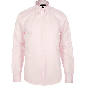Light pink twill button collar slim shirt