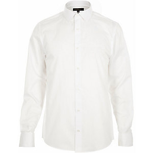 White formal double cuff slim shirt