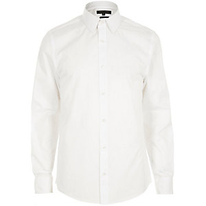 White twill point collar slim shirt