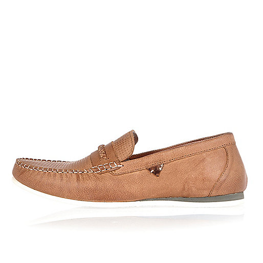 Tan leather woven slip on loafers