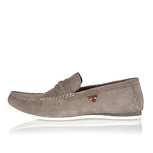 Light grey suede woven loafers