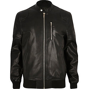 Black leather-look racer jacket