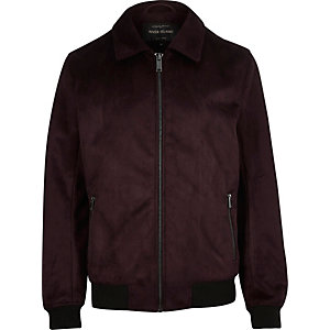 Dark red faux suede harrington jacket